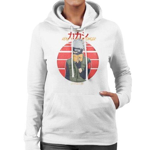 (Small, White) Read To Be Stronger Kakashi Hatake Naruto Women's Hooded Sweatshirt