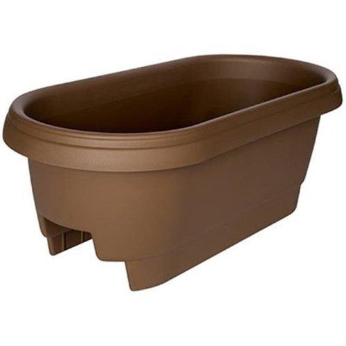 477245-1001 24 in. Chocolate Deck Rail Planter