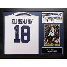 Framed Jurgen Klinsmann signed 1994 Spurs shirt with COA & proof