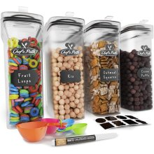 Cereal Airtight Storage Food Containers With 8 Labels, Spoon Set & Pen