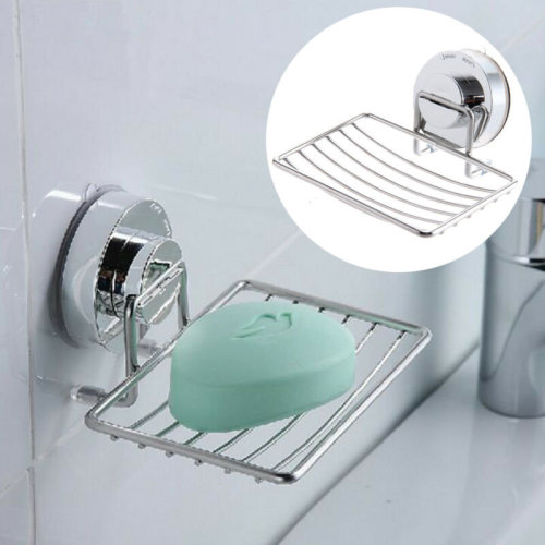 Suction Bathroom Shower Chrome Accessory Soap Dish Holder Cup Tray