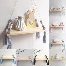 Cute Woodedd Storage Rope Swing Wall Hanging Shelf Shelves Holder Room Home Decor