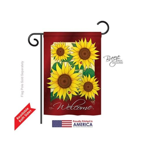 Floral Welcome Sunflowers 2-Sided Impression Garden Flag - 13 x 18.5 in.