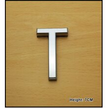 Self Adhesive 3D Chrome Letters Silver House Door Car 7cm CURVED - T