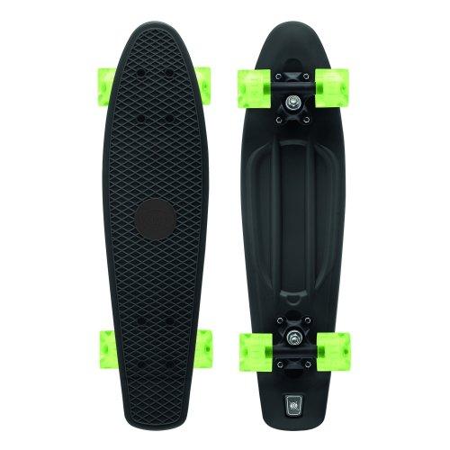 Xootz Kid's Retro Plastic Skateboard with LED Light Up Wheels Black 22-Inch