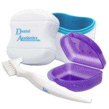 Dental Bath, Retainer Case and Brush ~ Storage Case and Container for Soaking and Cleaning Ortho Retainers (Blue Bath, Glitter Purple Case)