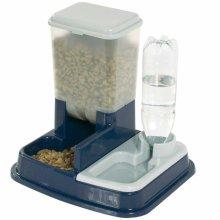 FLAMINGO Pet Dog Cat Water and Food Dispenser Feeder Dish Duo Max Blue 5344046
