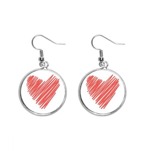 Heart Graffiti Drawing Valentine's Day Ear Dangle Silver Drop Earring Jewelry Woman