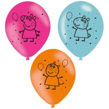 amscan 10260615 Assorted Colors Latex Balloons with Printed Peppa Pig Design-6 Pcs
