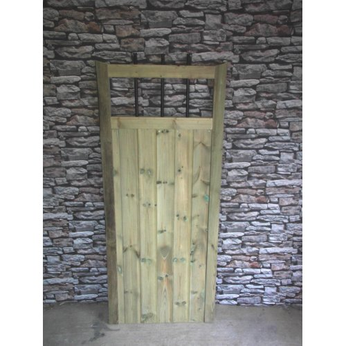 Wooden Straight Metal Through Top 6ft Garden Gate - UP TO 8 WEEK WAIT