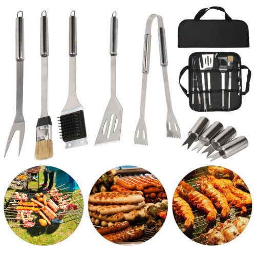 9 PCS Stainless Steel BBQ Barbecue Set Outdoor Cooking Grill Tools Kit