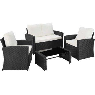 3 Pc Tectake Lucca Rattan Garden Furniture Set