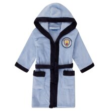 Manchester City FC Official Football Gift Boys Hooded Fleece Dressing Gown Robe