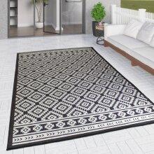 Outdoor Rug Black and White Cream Diamond Large XL Small for Garden Patios Decking Gazebo Soft Woven Geometric Mat