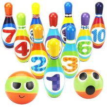 Bowling Set Skittles Game for Kids with 10 Pins and 2 Balls Early Development Indoor Toy Gifts for Children Toddler Girls Boys