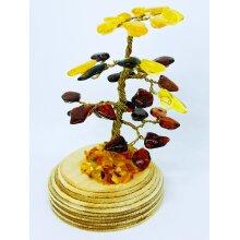 Handmade Baltic Amber Souvenir Lucky tree, Type Bonsai