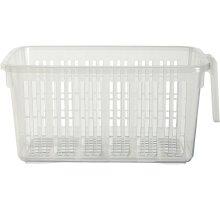 Clear Storage Caddy Baskets With Handle Easy Cupboard Shelf Tidy