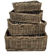 Grey Kubu Rattan Wicker Strong Shallow Storage Shelf Display Fruit Basket