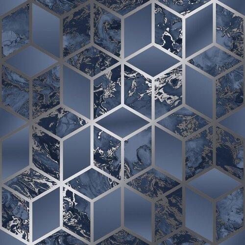 Muriva Elixir Cube Blue Silver Wallpaper 166512