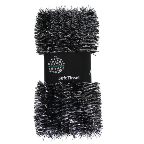 Christmas Tree 50ft x 3cm Tinsel GREAT VALUE - Black & Silver