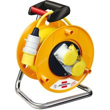 Brennenstuhl 1148773 Garant 2-socket reel (25m length, ergonomic handle), cable colour: yellow, 240 mm Dia