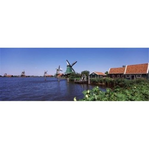 Open air museum at the waterfront  Zaanse Schans  Zaanstad  North Holland  Netherlands Poster Print by  - 36 x 12