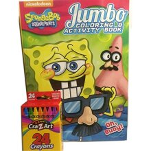 Spongebob 2pc Jumbo Coloring & Activity Book and Crayons