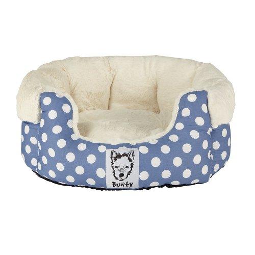 (Small, Blue) Bunty Deep Dream Polka Dot Bed | Soft Fleece Dog Bed