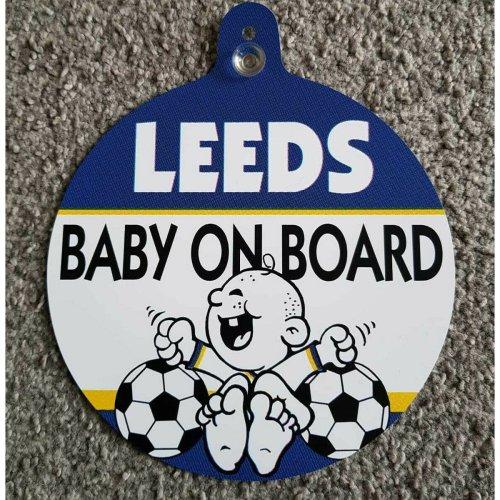 "Leeds United FC Car Window Hanger ""LeedsBaby On Board"""