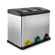 Compact Recycling Pedal Bin | M&W 24L (3 x 8L) New
