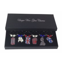 Colourful Great Britain British Wine Glass Charms with Gift Box