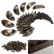 24pcs Cupboard Door Cabinet Cup Drawer Furniture Antique Pull Shell Handle UK