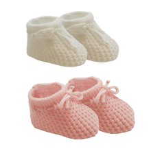 Baby Knitted Booties - 2 Pack, White Blue Pink, 0-3 Months