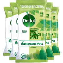 Dettol - Biodegradable Multi Surface Wipes (90 Wipes x 5 Packs)