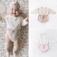 Lovely Heart Baby Girl Knitted Clothes, Romper Jumpsuit