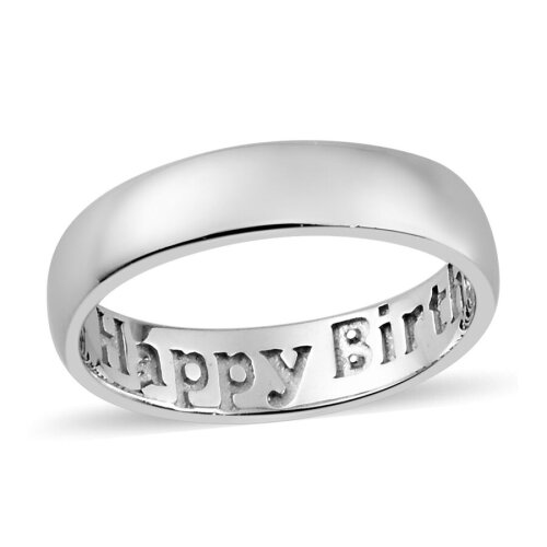 TJC Happy Birthday Engraved Band Ring for Womens in Platinum Plated Silver