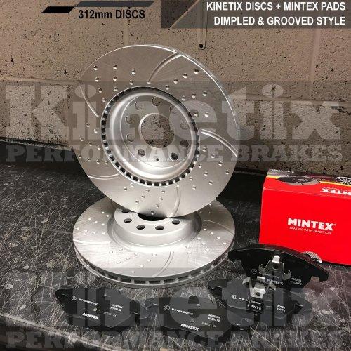 FOR SKODA OCTAVIA 2.0 RS FRONT DIMPLED GROOVED BRAKE DISCS MINTEX PADS 312mm