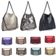 Miss Lulu Falabella Handbag | Metallic PU Leather Bag