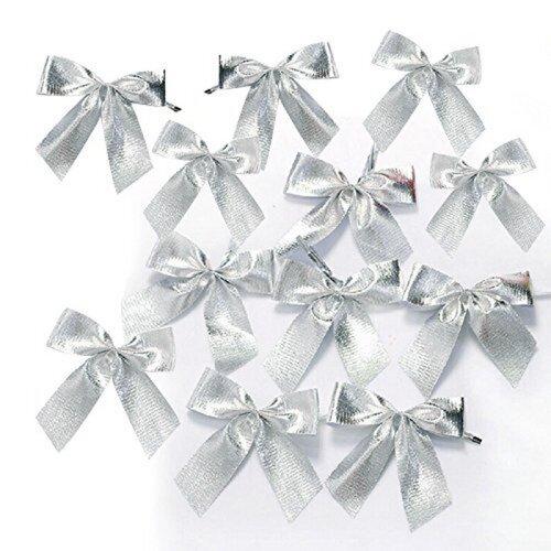 (Silver Christmas Tree Decoration) 12 Pcs Bowtie Christmas Tree Decoration Ornaments