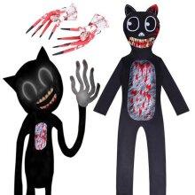 Kids Cartoon Cat Scary Costume Cosplay Jumpsuit Halloween Fancy Dress W/Gloves