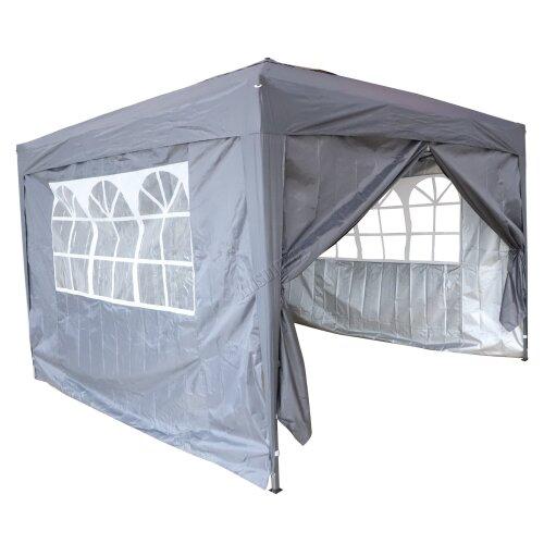 (Grey) Birchtree Waterproof Pop Up Gazebo | Garden Party Tent - 3 x 3m