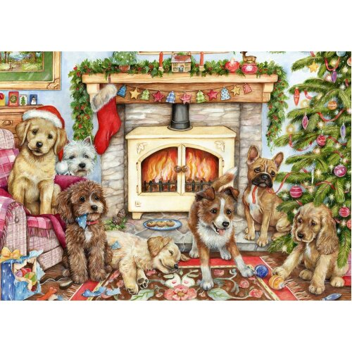 Falcon Deluxe Christmas Puppies Jigsaw Puzzle (500 Pieces)