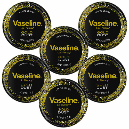 Vaseline Luxurious Addition Lip Therapy Gold Dust Lip Balm, 6 Pack