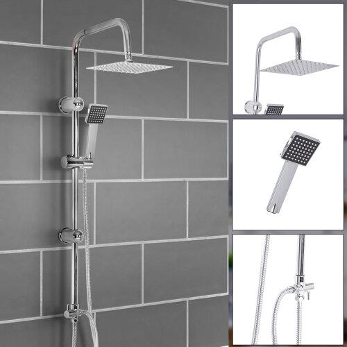 Chrome Shower Kit Twin Head Square Shower Kit Fixed Shower