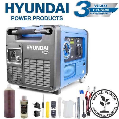 Hyundai HY4500SEI 230V Petrol Driven 4000W 4.0kW 5kVA Portable Silenced Generator