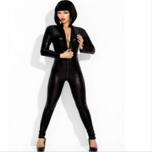 Wonder beauty Black Sexy Faux Leather Latex Catsuit Clubwear With Zipper to Crotch Sex Fetish Bandage Costume sexy long sleeve