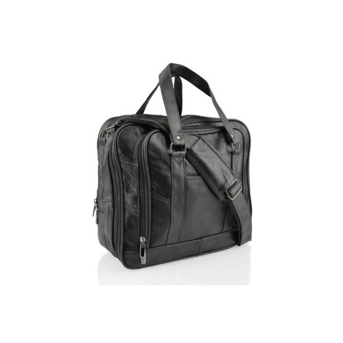 """Leather Black Tote Bag 12.5"""" Twin Handle Central Pockets"""