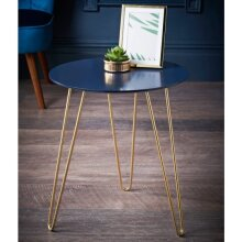 Malvern Side Table with Gold Finish Metal Legs, and a Navy Top Ideal For Placing Drinks.- Navy & Gold