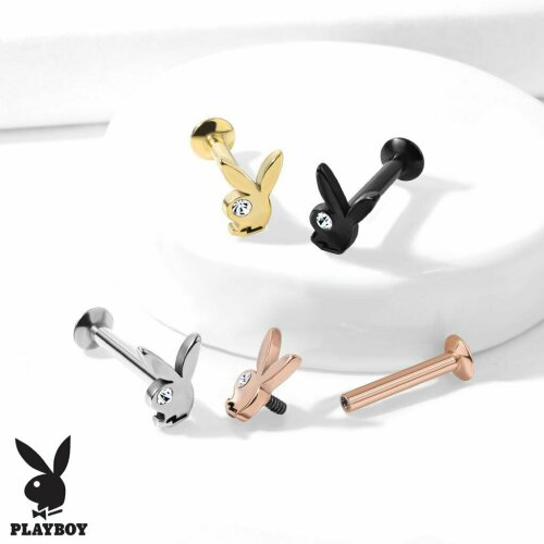 Steel/Clear, Official Playboy Bunny Crystal Eye Plated Surgical Steel  Flat Back Labret Tragus Cartilage Labret Monroe Universal Barbell Bar Earring ,