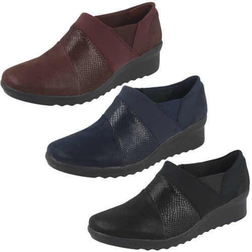 Ladies Cloudsteppers by Clarks Wedge Heeled Shoes Caddell Denali - D Fit